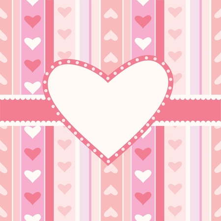 Greeting card with decorative hearts and stripes Vector