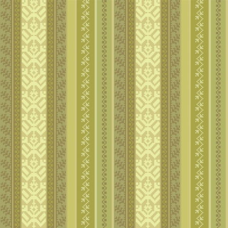 fabric seamless pattern with traditional ornaments in green Vector