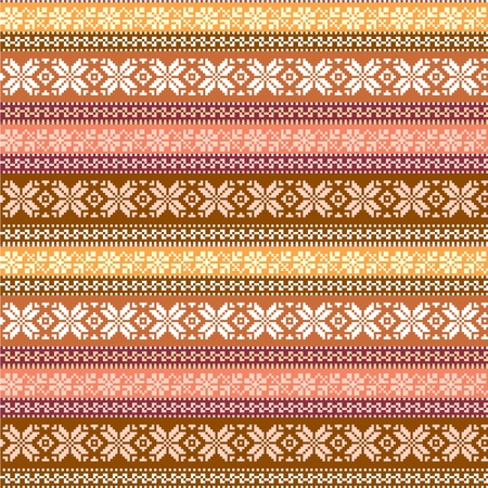 vintage weaving: fabric seamless pattern with traditional ornaments in warm colors Illustration