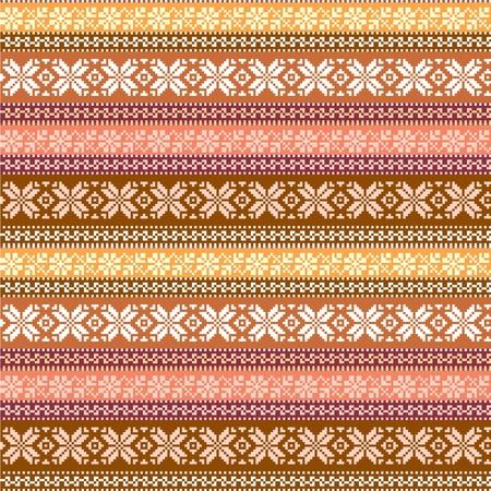 tkanina szwu z tradycyjnymi ornamentami w ciepłych kolorach Ilustracje wektorowe
