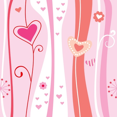 Pink abstract romantic background hearts valentine Illustration