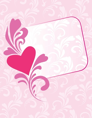 Greeting card decorative heart at floral background place for your text Stock Vector - 11932095