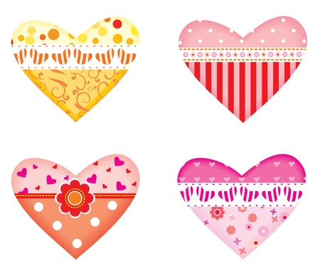 Set of decorative ornamental colorful hearts  Vector