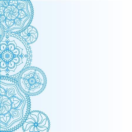 曼陀羅: 民族のヘナの装飾を持つ明るい青の背景