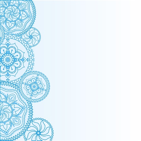 blue flowers: light blue background with ethnic Henna ornamentation