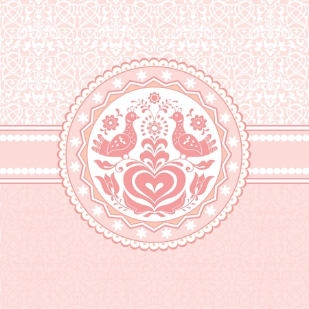 Birds and heart folk style pink greeting card Vector