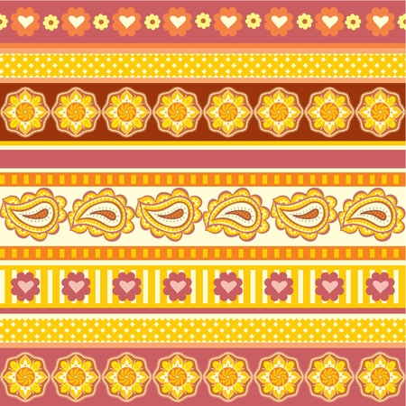 Texture with ethnic ornaments, colored motifs background Vector