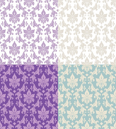 set of seamless floral damask patterns in beige, lilac and white Vector