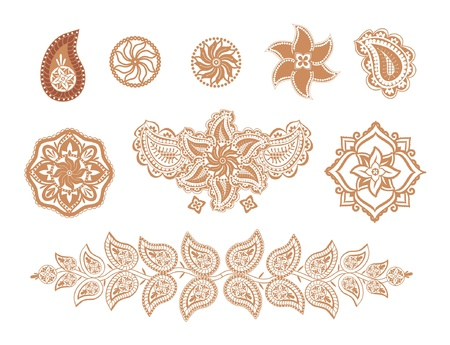 Set of decorative elements henna flowers and paisley indian style