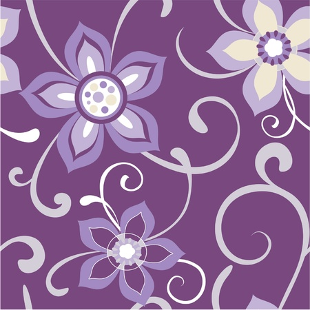 Seamless floral pattern flowers dark purple background Stock Vector - 12034296