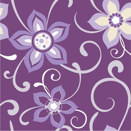Seamless floral pattern flowers dark purple background Illustration