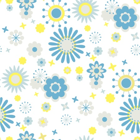 seamless floral pattern blue and yellow flowers at white background Stock Vector - 12034298