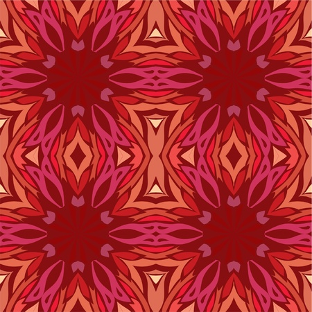 contrasty: Bright kaleidoscope of repetitive pattern in red, seamless background Illustration
