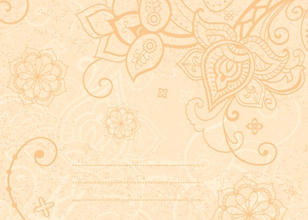 henna design: Floral background decorative indian style flowers and place for your text