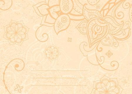 henna design: Florales flores decorativas de fondo al estilo indio y lugar para el texto Vectores