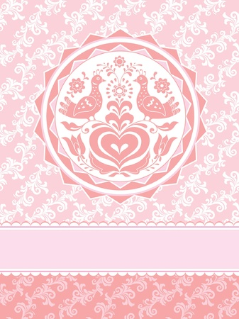 Birds and heart folk style decorative pink greeting card Vector