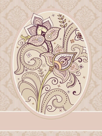 Floral greeting card template decorative flowers retro style  Vector