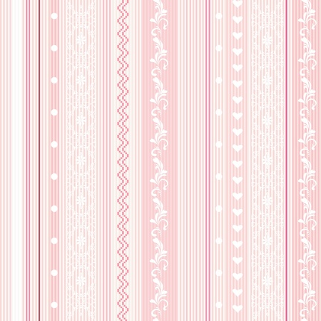 Decorative ornamental striped seamless wallpaper in pink