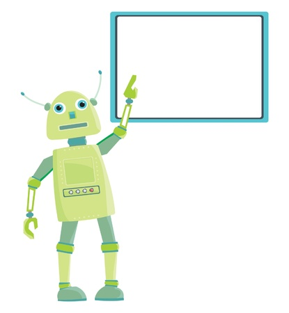 funny robot: Funny cartoon green robot board with place for your text