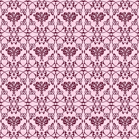 Floral seamless wallpaper rose bouqet pink and black Stock Vector - 12113444