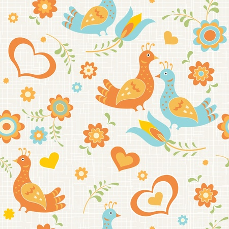 Colorful seamless wallpaper birds, flowers and hearts country style Vector