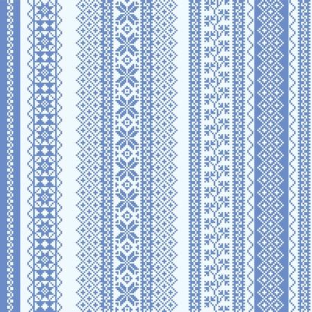 Borduren naadloze patroon Scandinavische stijl in het blauw