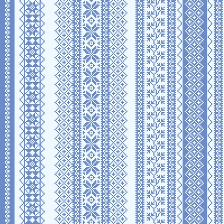 Embroidery seamless pattern nordic style in blue Illustration