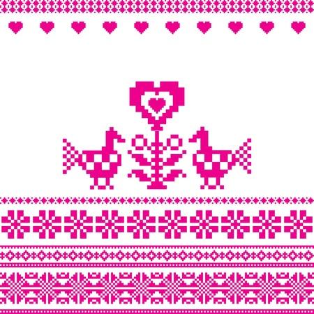 Birds and heart embroidery folk motif love sign Vector