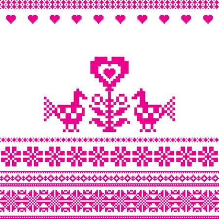Birds and heart embroidery folk motif love sign Vector