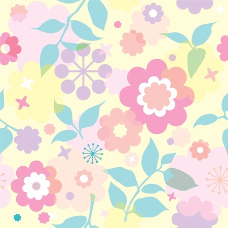 bright seamless floral wallpaper with decorative flowers Vector