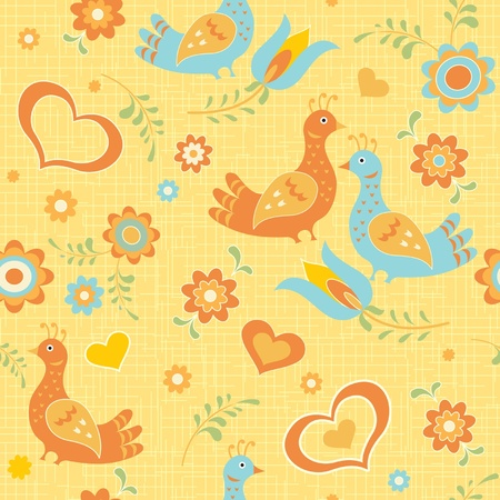 birdie: Colorful seamless wallpaper birds, flowers and hearts folk style
