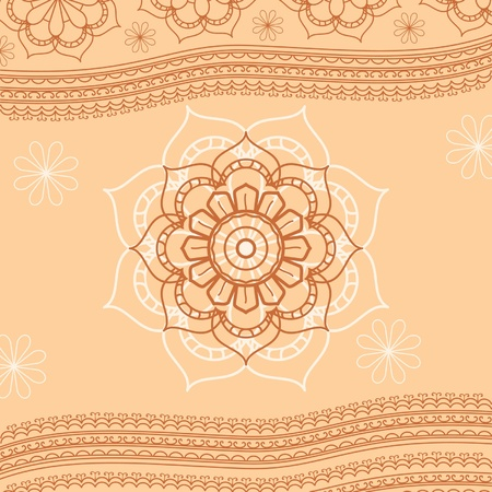 Floral decorative vintage background indian ethnic style Vector