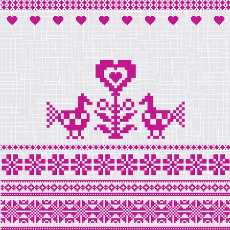 Embroidered traditional motif birds and heart folk style Vector
