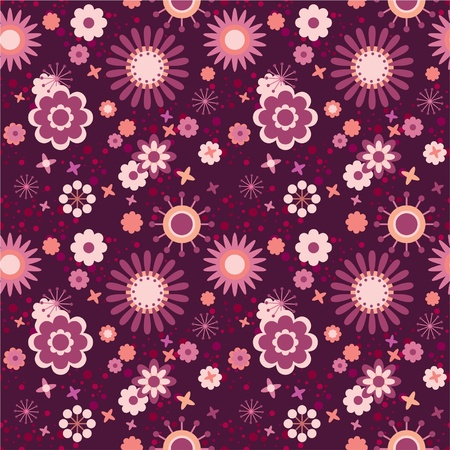 vinous: Seamless floral pattern decorative flowers in pink, vinous and red   Illustration