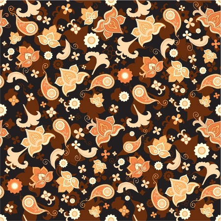 Seamless floral pattern with bright flowers at dark background Vector