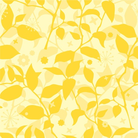 Seamless floral pattern with branches and leaves in yellow