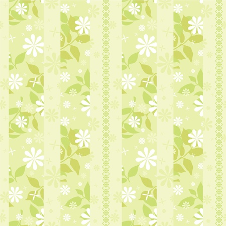 artistic flower: light green striped wallpaper with flowers and decorative ornament Illustration