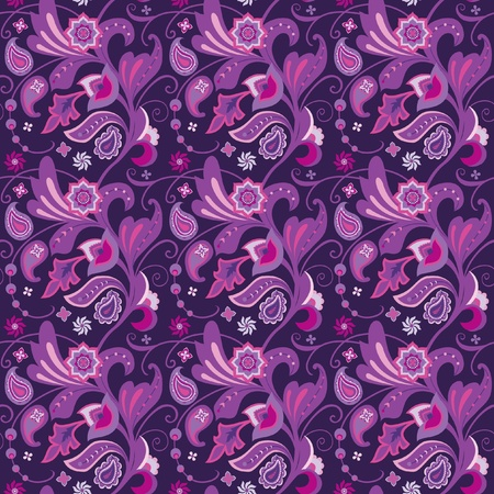 contrasty: Floral ornamental seamless pattern with decorative flowers and paisley
