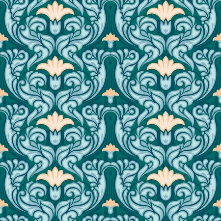 Decorative floral seamless wallpaper art nouveau style Vector
