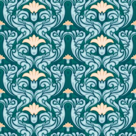 art nouveau: Decorativo floreale seamless wallpaper stile art nouveau