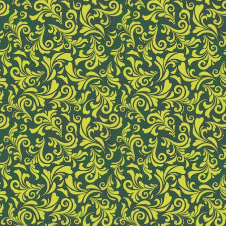 Decorative floral seamless pattern in green