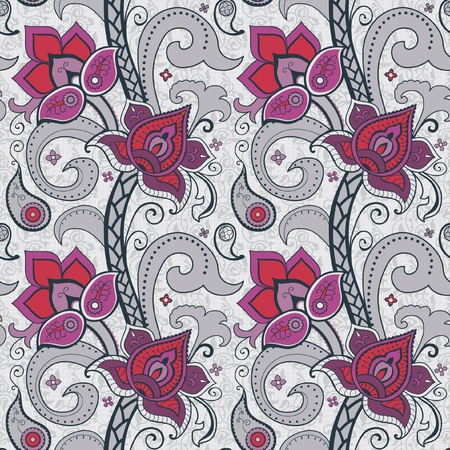 persia: Floral seamless wallpaper decorative flowers red and gray