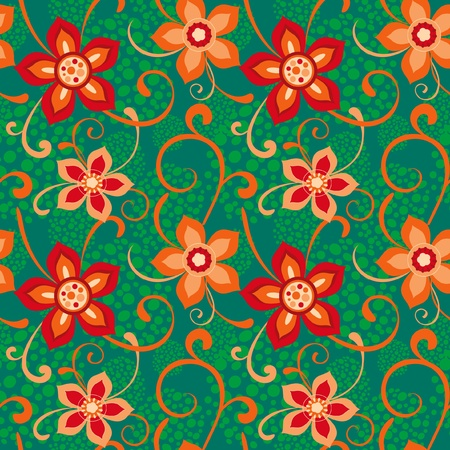 Colorful seamless floral ornament, red and green Vector