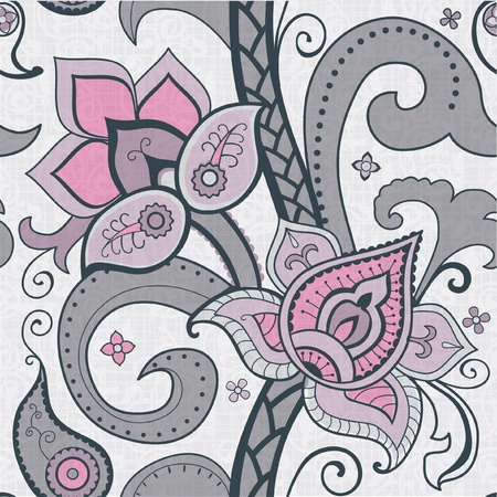 Decorative floral pattern indian style flowers and payslei Vector