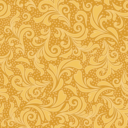 Floral seamless ornament in gold yellow Vector