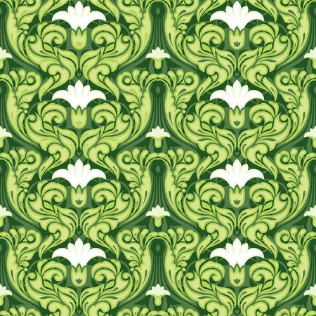 Ornate green floral seamless pattern Vector