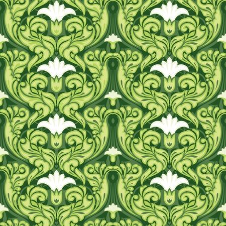 art nouveau vintage: Ornate green floral seamless pattern