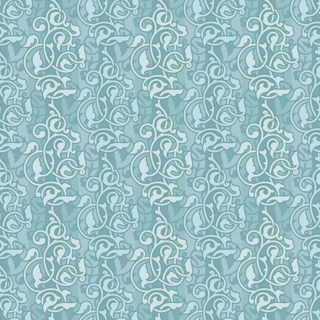 Seamless decoratice background with arabesques in light blue Illustration