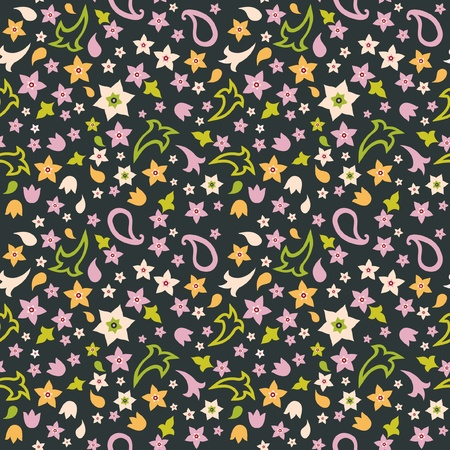 Seamlessl floral pattern colorful flowers on dark background Vector
