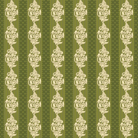 bookish: Striped ornamental asian seamless wallpaper in green